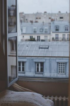 Blue Aesthetic Discover MOOD: Paris Is A Moveable Feast Oui We Moodboard featuring Parisian style and architecture. Design inspiration for the new season. Nanu Nana, Metro Paris, Belle Villa, Window View, Open Window, Through The Window, Windows, Blue Aesthetic, Interior Exterior