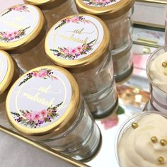 Fits perfectly on mini sweet jars Ramadan Decorations, Table Decorations, Eid Favours, Eid Stickers, Small Bakery, Sweet Jars, Floral Hoops, Eid Mubarak, Wallpapers