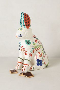 flowered rabbit cookie jar