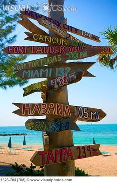 Directional signs on a wooden post on the beach, Key West, Florida, USA