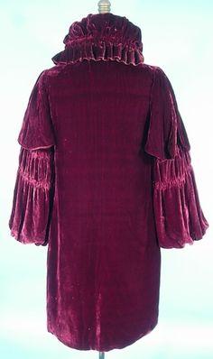 c. 1920's/1930's Plum Silk Velvet Short Evening Coat. Back