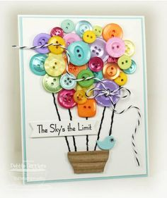 Scrapbook and Paper Craft Projects featuring Buttons Tarjetas Diy, Button Cards, Button Button, Creative Cards, Cute Cards, Scrapbook Cards, Homemade Cards, Cardmaking, Balloons