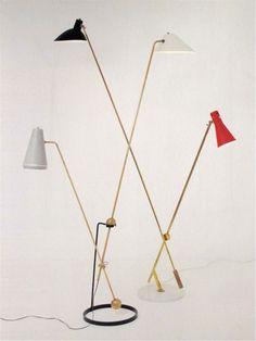 """Pierre Guariche  Disderot  """"floor light""""  1951  &  Gino Sarfatti  Arteluce  """"floor light""""  1952 via MONDOBLOGO"""