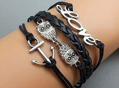 Owl love small black multistrand 8word by Beautifuljewelrys, $4.99