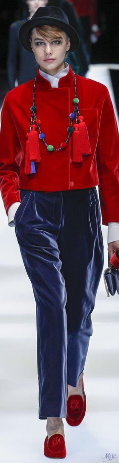 4c7c069efc3f Fall 2017 RTW Giorgio Armani red crop velvet jacket and sapphire blue pants.