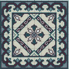 ru / Фото - Blue Tile Carpet and Pillow - azteca Gallery.ru / Фото - Blue Tile Carpet and Pillow - azteca Cross Stitching, Cross Stitch Embroidery, Embroidery Patterns, Crochet Bedspread Pattern, Tapestry Crochet, Cross Stitch Designs, Cross Stitch Patterns, Cross Stitch Pillow, Pixel Pattern
