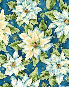 Holiday Flourish 5 - Winter Flowers - Marine/Gold