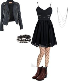 inspired for a first date by effy-stonem-style featuring diesel jewellery  Navy blue dress / Gold cropped jacket, $57 / Wolford nylon stocking / Beatle boots, $41 / Nadri pendants necklace / Diesel jewellery, $62 / Woven necklace