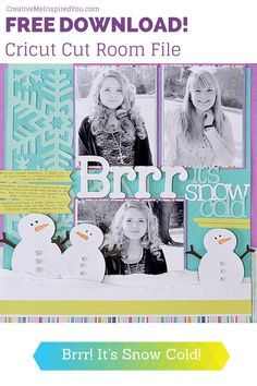 It's Snow Cold Cricut Layout - CreativeMeInspiredYou.com scrapbook, scrapbooking, layout, cricut craft room, cut file, ccr file, winter, snow, family