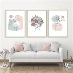 Line Art Flowers, Abstract Flowers, Poppy Flowers, Modern Art Prints, Modern Wall Art, Art Prints For Home, Animal Decor, Home And Deco, Wall Art Sets