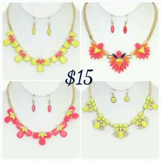 Neon Summer Colors necklace set with matching earrings. Great for summer fashion and beachwear. Get it while it is hot!!! Order Now by clicking image.   Visit us at www.chiclyfabulous.com.
