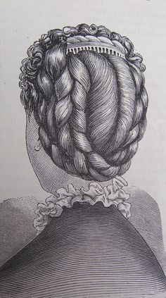 Braided Victorian hair updo with a slight peek of a lovely hair comb on top. Fashionable hair accessories and jewelry 1880s