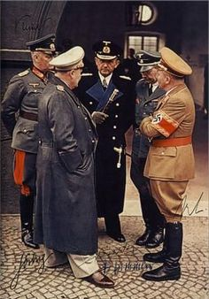 This photo shows some of the most powerful men of Germany. From left to right: Generalfeldmarschall Wilhelm Keitel, Reichsmarschall Hermann Göring, Großadmiral Karl Dönitz, Reichsführer-SS Heinrich Himmler and Reichsminister Martin Bormann.: