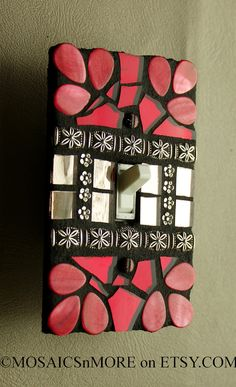 Red and Organic  SINGLE Mosaic Light Switch Cover by MOSAICSnMORE