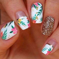 Want some ideas for wedding nail polish designs? This article is a collection of our favorite nail polish designs for your special day. Tropical Nail Designs, Flower Nail Designs, Flower Nail Art, Cute Nail Designs, Tropical Flower Nails, Tropical Nail Art, Cute Acrylic Nails, Cute Nails, Pretty Nails