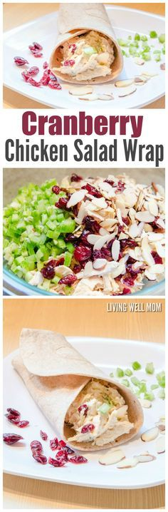 This Cranberry Chicken Salad Wrap recipe has chicken, slivered almonds, celery, and dried cranberries for added flavor. It's quick and easy to prepare, making it a delicious way to enjoy a healthier, filling lunch.