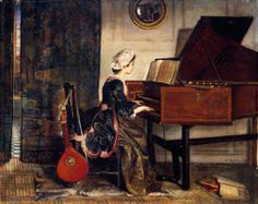 With thy sweet fingers, by Edith Hipkins, showing a woman playing a harpsichord. For keyboard instruments at the Horniman, visit #AtHomeWithMusic in the Music Gallery: http://www.horniman.ac.uk/visit/displays/music-gallery