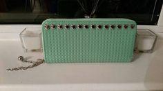 Mint green Silver heart studded purse by ItsPeak on Etsy