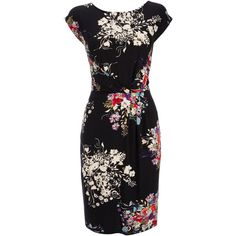 Black Floral Twist Dress ($59) ❤ liked on Polyvore