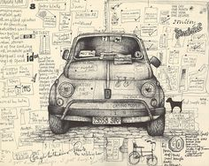 Andrea Joseph is a moleskine fan and sketching master. Her moleskine is full of great everyday objects skecthed with pencils or pens. Moleskine Sketchbook, Sketchbook Pages, Artist Journal, Art Journal Pages, Art Journaling, Doodles Zentangles, Drawing Sketches, Art Drawings, Illustrations