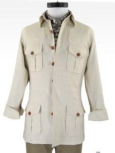 Luxire Linen: Cream Linen  Ideal summer safari jacket in Irish linen for casual mood.   Features : 4-pockets, shirt collar, dark brown horn buttons, hidden placket, draw string at waist, flap pockets with box pleat.