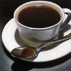 A Winter Cup - Realism - Oil on Hardboard Panel - Still Life - Cup and Saucer - Coffee and Tea, painting by artist Jelaine Faunce
