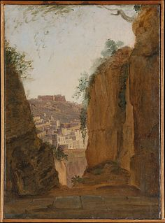 Virgil's Tomb, Naples  Franz Ludwig Catel   ca. 1818 Medium: Oil on paper, laid down on canvas 12 x 8 3/4 in. 2003.42.49  This artwork is part of The Path of Nature:  French Paintings from the Wheelock Whitney Collection, 1785–1850 via Met Museum
