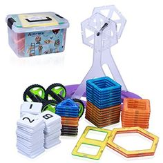 Augymer Magnetic Building Blocks Set, 87 Pcs Magnetic Construction Stacking Toys for Children Kids with Carry Box Letters and Numbers Toys: Amazon.co.uk: Toys & Games