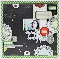 By Jaime Warren...love the doilies, tickets, tags along the edge and green border.