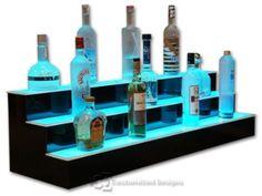 "48"" 3 Tier LED Lighted Liquor Display Bar Shelves with High Gloss Black Finish & NeXus LED Remote Control Lighting"