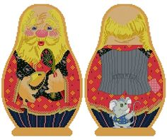 The Golden Egg Russian Fairytale - Counted Cross Stitch Russian Doll Matreshka Grandpa, two-sided design
