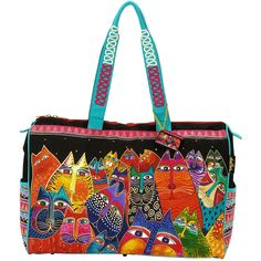 LAUREL BURCH-Travel Bag Zipper Top: Fantasticats. The brilliant hues and wonderful patterns of these carefully designed totes appeal to everyone. They are artful and useful at the same time. This pack