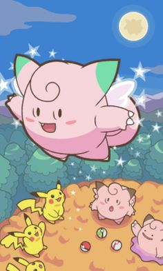 Flying clefairy and cute Pikachu
