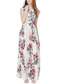 GABREBI Women's Sleeveless Maxi Dress Vintage Floral Print Casual Long Tunic Dresses GABREBI