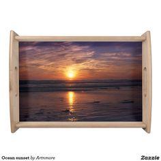 Ocean sunset serving tray