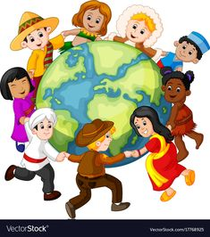 Children holding hands around the world Royalty Free Vector Children Holding Hands, My Children, Elementary Bulletin Boards, Continents And Oceans, School Murals, Happy Earth, Cultural Diversity, Thinking Day