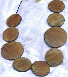 Natural brown wood round disk bead tribal jungle on black leather necklace Austrlian hadnmade OOAK Free shipping $35.95