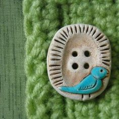 2 Songbird Pie Buttons - Handmade Ceramic Buttons - Bluebird Buttons - Bird…