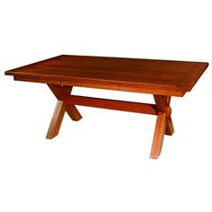 Frontier Plank Top Mission Trestle Table ($1,792) ❤ liked on Polyvore featuring home, furniture, tables, dining tables, extendable table, plank dining table, handmade dining tables, butterfly leaf table and painted tables