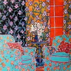 Blue Easy Chairs by Canadian contemporary artist from Toronto, Linda Arthur #ChairIllustration