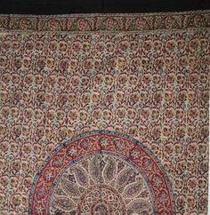 Handmade Cotton Kalamkari Mandala Block Print Curtain Drape Panel Earthen 46x88