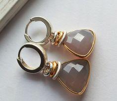 Kolczyki srebrne z beżowymi agatami - LaGatta-jewellery - Kolczyki srebrne