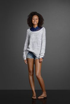 Beaded cut-off shorts sparkle with pretty shine detailing. Get into a warm, slouchy sweater over a sheer button-down shirt. Check out Gilly Hicks for the perfect Push 'Em Up Bras and Down Undies.