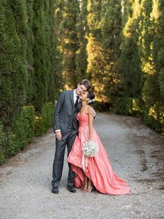 Would you dare to ditch white in favour of a bold pink wedding dress? We've found 17 gorgeous examples that might just get you inspired! Retro Wedding Dresses, Wedding Dress Trends, Vintage Inspired Dresses, Designer Wedding Dresses, Bridesmaid Inspiration, Wedding Hair Inspiration, Wedding Ideas, Boho Gown, Beautiful White Dresses