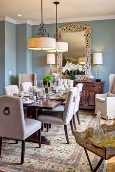 Stunning Dining Setting With Merridian Sideboard, Quixote Dining Table And  Reclaimed Bar Cart.