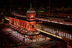 Wilmington, Delaware, USA train station at night - Gothic Revival Style architecture Delaware Usa, Wilmington Delaware, Delaware River, Mid Atlantic States, School Photos, Train Travel, Big Ben, Road Trip, United States