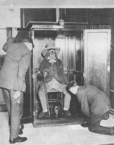 At his request, Jeremy Bentham's body was preserved after his death and put on display. The mummification of the head left it rather macabre, so a wax head was used in it's place. The real head sat on the floor between Bentham's feet for many years. http://www.cultofweird.com/medical/jeremy-bentham-auto-icon/
