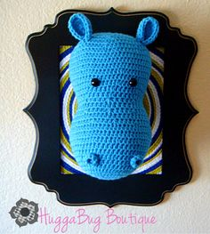 Items similar to Billy the Hippo - Whimsical Taxidermy Style Childrens Wall Hanging on Etsy Crochet Taxidermy, Faux Taxidermy, Crochet Toys, Crochet Baby, Knitting Projects, Crochet Projects, Crochet Ideas, Crochet Patterns, Animal Heads