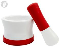 KindGrip Mortar and Pestle with Silicon Non-Slip Base and Handle, Red (*Amazon Partner-Link)