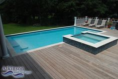 wooden deck right up to pool